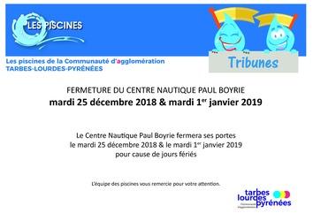 Fermeture Centre Nautique Paul Boyrie